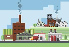 Industriële gebouwen vlak vector