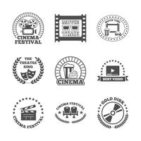 Cinema zwarte retro labels pictogrammen instellen vector