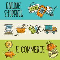 E-commerce ontwerp schets banner vector