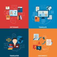 Vertaling en woordenboek plat pictogrammen samenstelling vector
