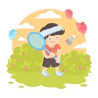 Jongen badminton spelen vector