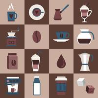 Koffie pictogrammen plat