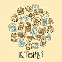 Keuken apparatuur schets