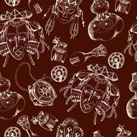 Afrika schets donker naadloos patroon