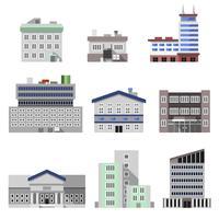 Kantoorgebouwen plat vector