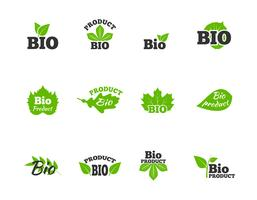 Groene bladeren plat pictogrammen instellen