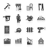 Timmerwerk pictogrammen Black vector