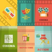 Cinema pictogrammen samenstelling poster afdrukken vector