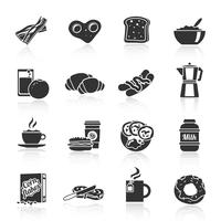 Ontbijt pictogram zwart vector