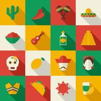 Mexico plat pictogrammen instellen vector