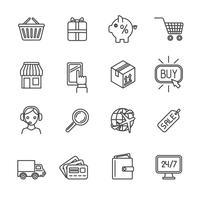 Winkelen e-commerce pictogrammen instellen platte omtrek