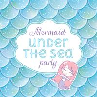 Feest uitnodiging. Glinsterende vissenschubben, kawaii zeemeermin-stiker en frame. Vector illustratie