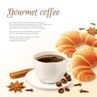 Ontbijt met koffie achtergrond vector