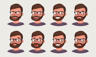 Leuke hipsterzakenman die verschillende emoties toont. Een bebaarde emoji van de mensenbeambte.