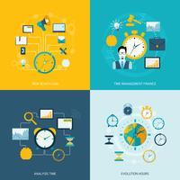 Tijd beheer plat pictogrammen vector