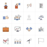 Verkiezingen pictogrammen instellen platte lijn