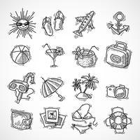 Zomervakantie icon set vector
