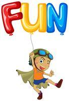 Jongen met ballon voor woordplezier