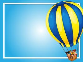 Grens sjabloon met kinderen in ballon
