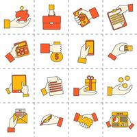 Bedrijfshanden financiële pictogrammen vector