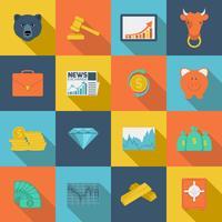 Financiën wisselen vlakke pictogrammen vector
