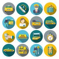 Taxi pictogrammen platte set vector