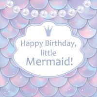 Verjaardagskaart voor klein meisje. Holografische vis of zeemeerminschubben, parels en lijst