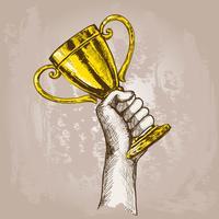 Hand met trofee vector