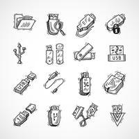 USB-pictogrammen instellen vector