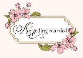 Bloemen de kaartmalplaatje van de huwelijksuitnodiging met tekst.