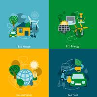 Eco energie plat pictogrammen samenstelling vector