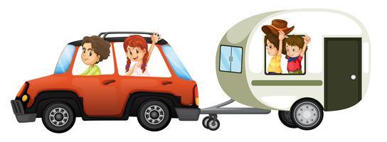 Een familie road trip op witte achtergrond vector