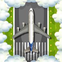 Luchtmening van vliegtuig over de baan vector