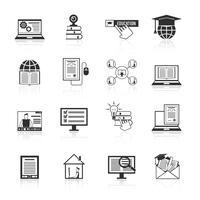 Online onderwijs pictogrammen Black vector