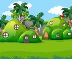 Natuur groene heuvel huis vector