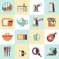 Voedsel pictogrammen platte lijn set