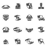 Verzekering pictogrammen zwart