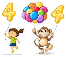 Meisje en aap met ballon nummer vier