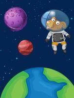 Een hondenastronaut in de ruimte