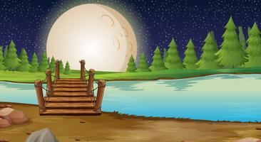 Scène met volle maan over de brug vector