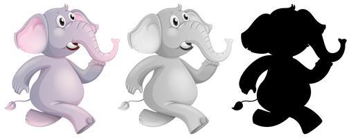 Set van olifanten lopen