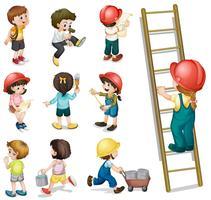 Kinderen werken vector