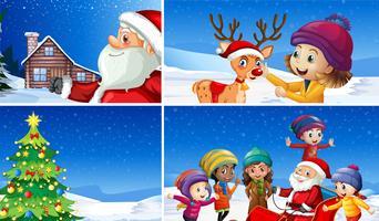 Een set winter kerst