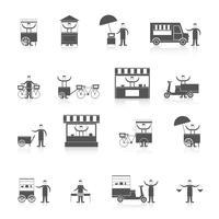 Straatvoedsel pictogram zwart