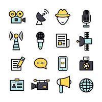 Nieuwsverslaggever pictogrammen vector