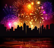 Fireworks City achtergrond vector