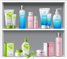 Cosmetica op planken vector
