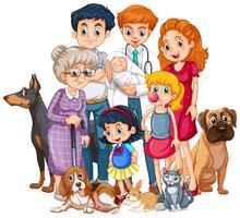 Familie met pasgeboren baby en veel huisdieren vector