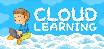 Een jongeman met een sjabloon voor het leren van de cloud