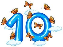 Tien vlinder op hemel